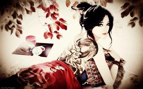 black hair bracelets branches dragons dragon tattoo green eyes japanese leaves lips