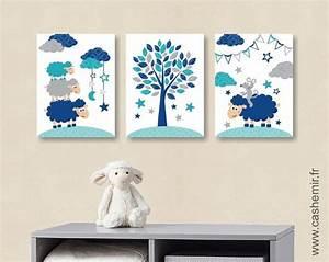 Tableau Chambre Bébé Garçon : affiche pour chambre de b b et d 39 enfant gar on mouton souris bleu gris turquoise r ~ Teatrodelosmanantiales.com Idées de Décoration