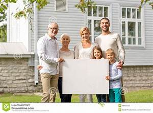 Happy Family In Front Of House Outdoors Stock Photo ...
