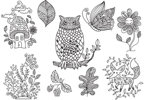 enchanted forest coloring vectors
