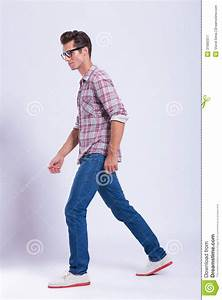 Casual Man Walks And Looks Away Royalty Free Stock ...