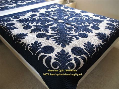 Navy White Quilt by Hawaiian Quilt Bedding Navy And White Quilted Bedding