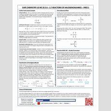 Cape Unit 2 Chemistry Reactions Of Halogenoalkanes Cram Sheet