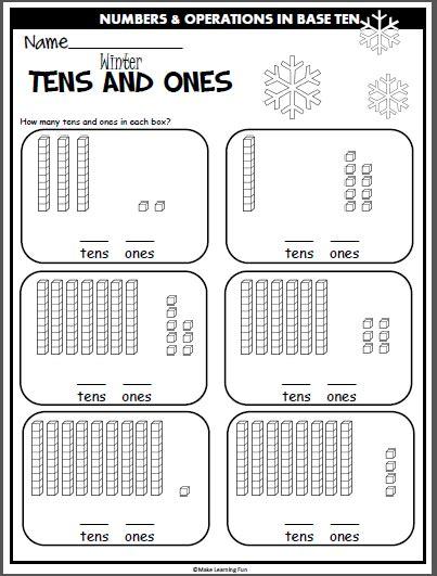 Winter Tens And Ones Practice (base Ten Blocks) Madebyteachers