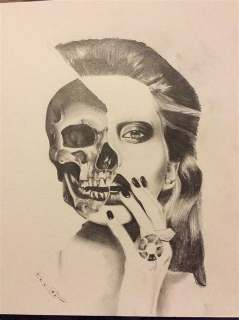 Half Skull Face Drawing Art