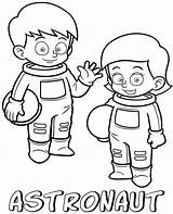 Coloring Astronauts Pages Printable Children Professions Sheets Easy Cartoon sketch template