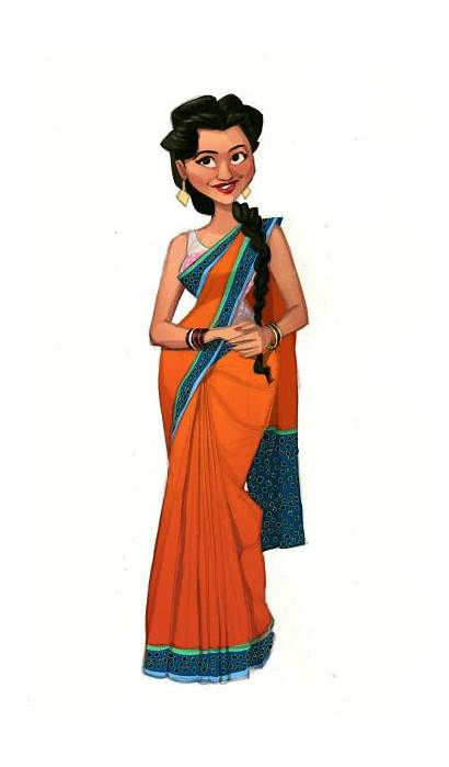 Saree Illustrations Clip Vector Lady Wearing Illustration