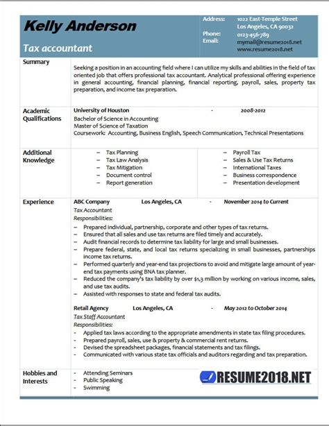 tax accountant resume exle 2018 resume 2018