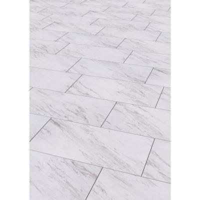 Groutable Vinyl Tile In Bathroom by Trafficmaster Carrara Marble 12 In X 24 In Peel And