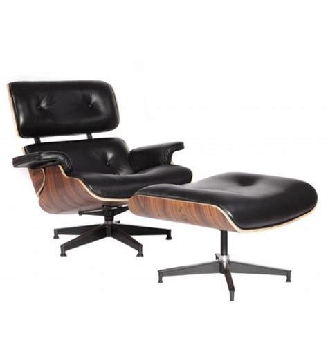 mcm eames style lounge chair ottoman stool black