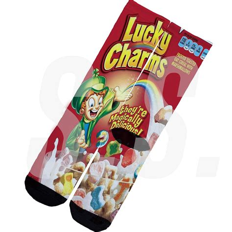 custom socks lucky charms box pot of gold cereal breakfast