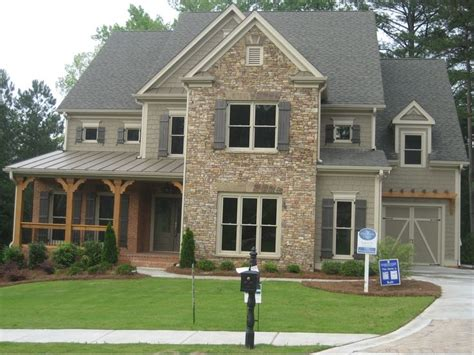 Craftsman With Stone Front Elevations