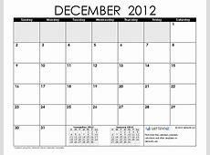 Calendarios de diciembre del 2012 en blanco y negro para