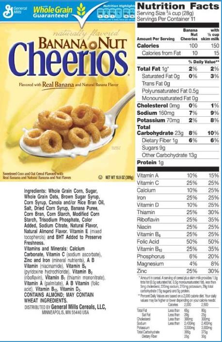 Cheerios Cereal Nutrition Facts
