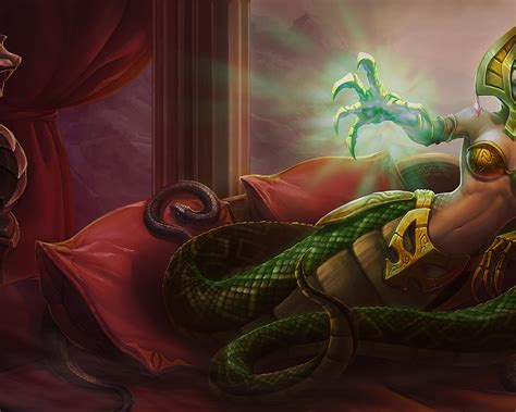 league  legends cassiopeia classic skin queen  snakes