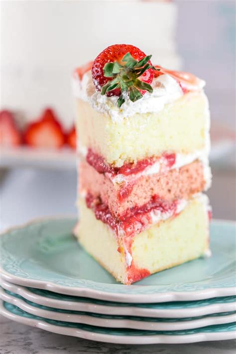 strawberry layer cake  whipped cream frosting bunsen