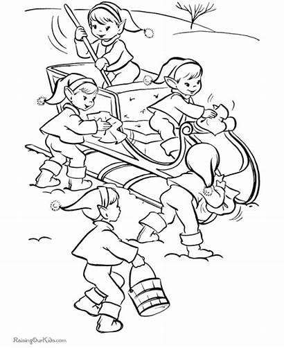 Coloring Elves Printable Kolorowanki Druku Narodzenie Boze