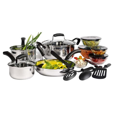 cookware essentials steel stainless basic tabletops kitchen 16pc sets unlimited sears