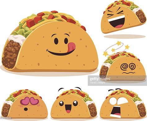 Taco Cartoon Set A Vector Art
