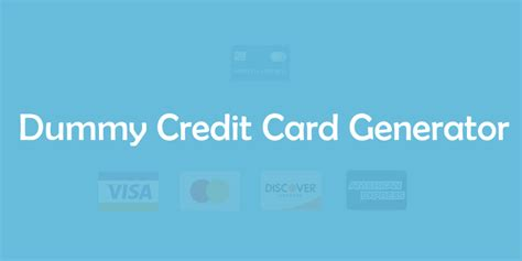 dummy fake credit card generator