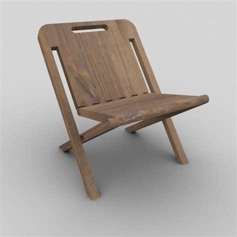 wooden folding chair by haditahir 3docean