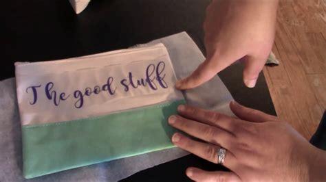 cricut htv iron  heat transfer vinyl makeup bag tutorial video youtube