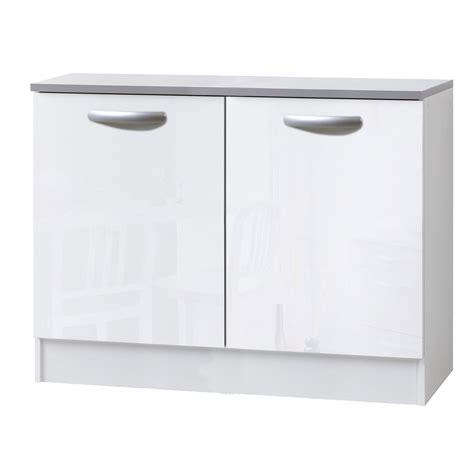 meuble cuisine blanc meuble de cuisine bas 2 portes blanc brillant h86x l120x p60cm leroy merlin