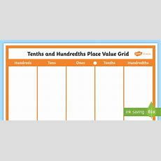 Tenths And Hundredths Place Value Chart Display Poster Place