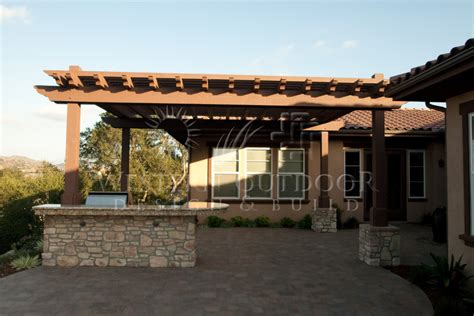 wood tellis patio cover attached to house gallery western