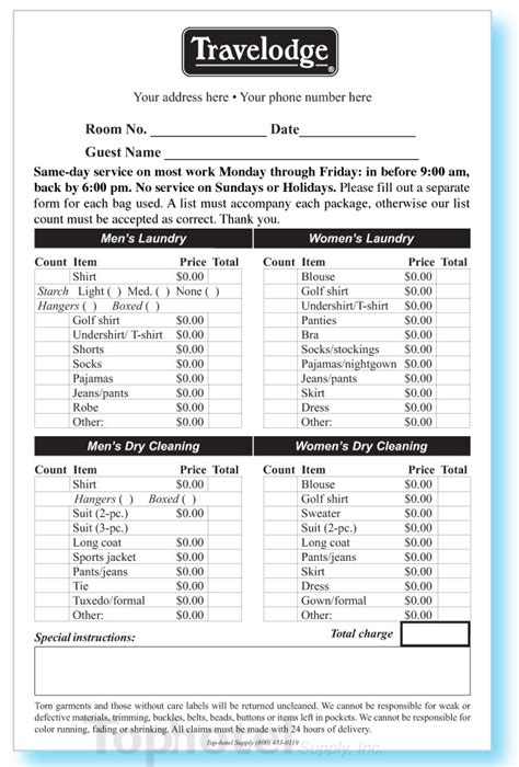 part custom printed laundryvalet list   wide