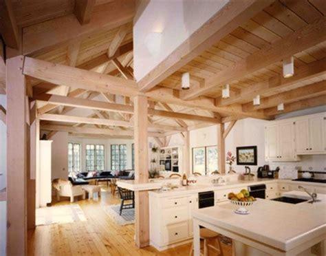 lompoc valley pacfic post beam  frame home interior timber frame kitchen timber frame homes