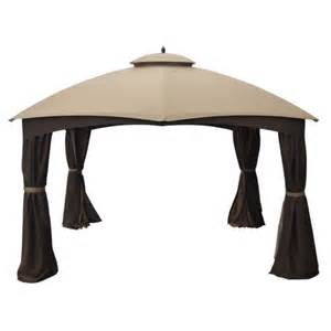 Wilson And Fisher Patio Furniture Cover by Allen Roth 10 X 12 Ft Beige Amp Brown Curtain Canopy Gazebo