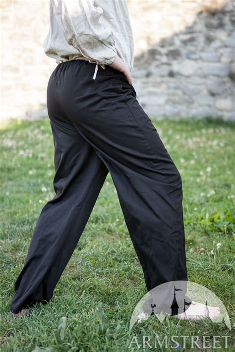 black cotton medieval pants  sale   dark