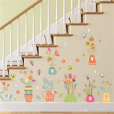Colorful Potted Flowers Butterfly Wall Stickers Kids Room