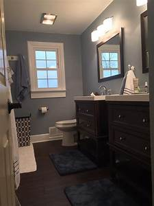 Love these blue gray walls paint color wall ovation by for Blue and gray bathroom designs