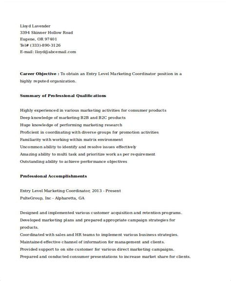 sle resume for entry level 28 images entry level 28 entry level marketing resume sle 28 entry level data