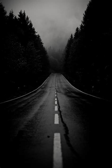 night  fallen  dark road  road
