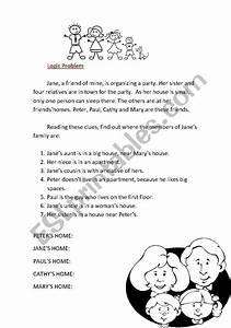 English Worksheets  Logic Problem