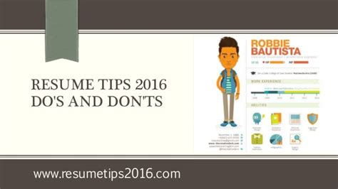 Resume Dos And Donts by Resume Tips 2016 Do S And Don Ts