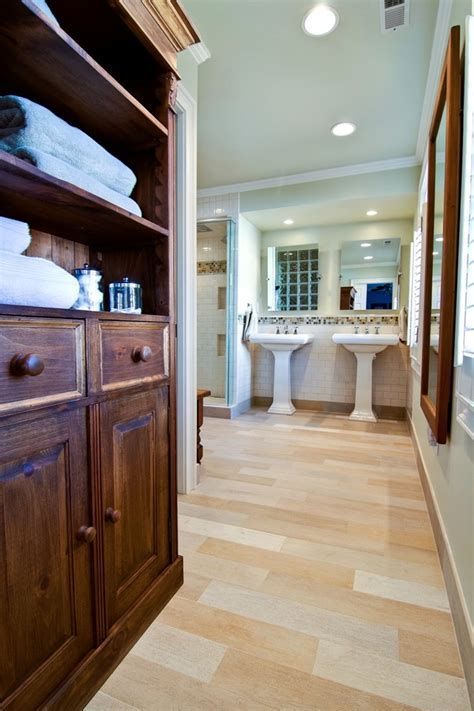 ceramic tile that looks like wood Bathroom Contemporary
