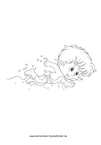 junge schwimmt im wasser sommer ausmalen malvorlagen