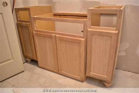 diy kitchen island from stock cabinets furniture style bathroom vanity made from stock cabinets