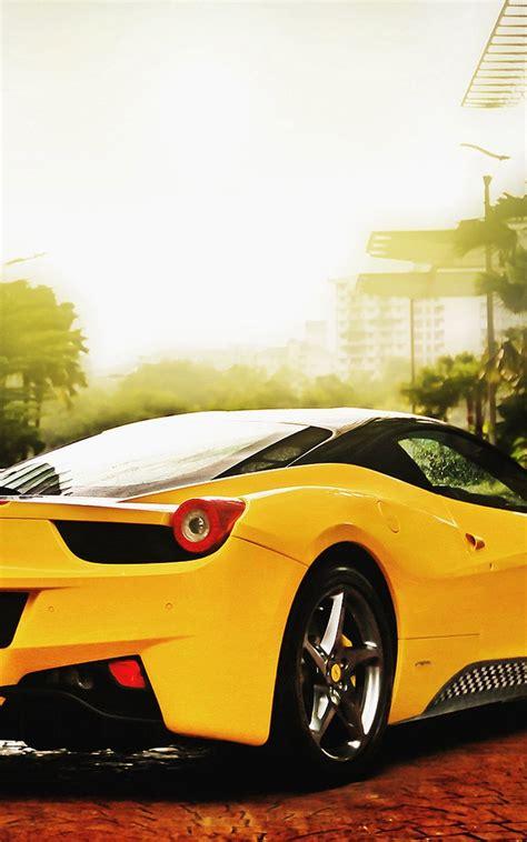 yellow ferrari car mobile hd wallpaper wallpapers