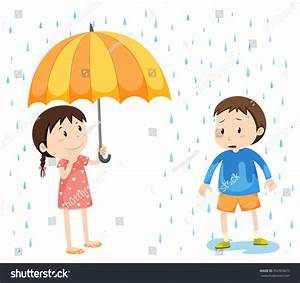 Girl Boy Rain Illustration Stock Vector 352903673 ...