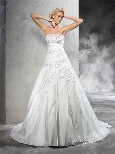 Ball gown strapless beading sleeveless long satin wedding for Hebeos wedding dresses