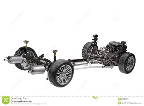 Car Chassis With Engine. Stock Image. Image Of Engine