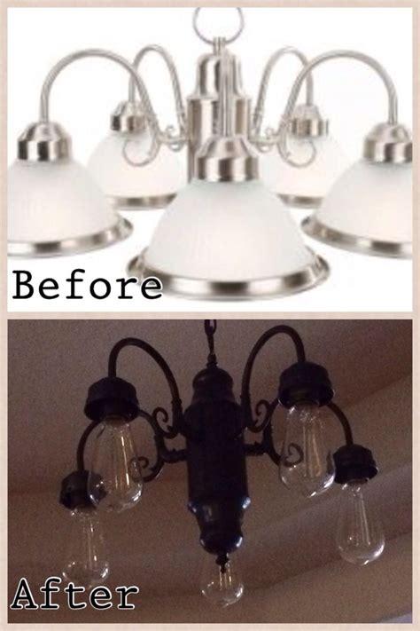 spray painted chandelier ideas  pinterest