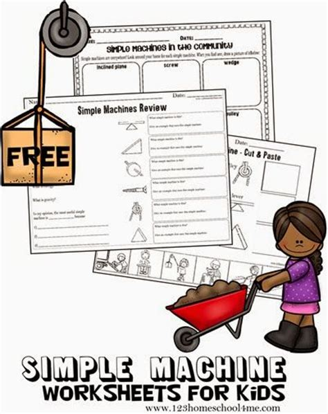 free simple machines worksheets for these are great for learning and reviewing the 6