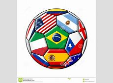 Football ball with flags stock illustration Image of
