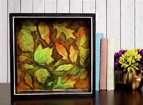 falling leaves  autumn shadow box art project  decoart